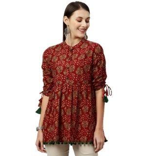 Buy Kipek Women Maroon & Green Floral Printed Tie-Up Sleeve Top worth Rs.1499 at Rs.779