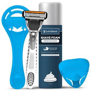 Letsshave Pace 4 Kit: 4 Blade Razor + Razor Stand + Shave Foam + Cap