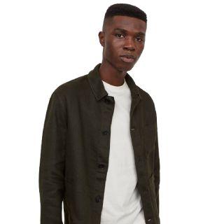 Buy H&M Men Green Solid Linen Shirt Jacket at Best Price