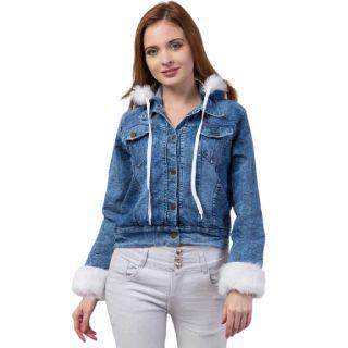 43% off on Moshe  Full Sleeve Self Design Women Denim Jacket