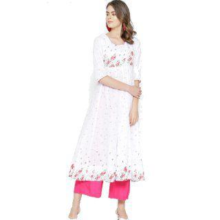 Flat 48% Off on Poshak Hub Women White & Pink Floral Printed Anarkali Kurta