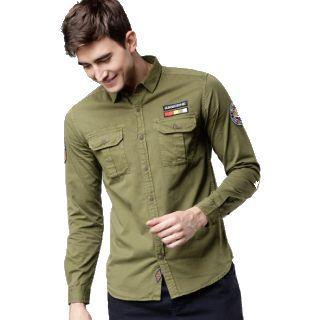 Flat 63% Off on LOCOMOTIVE Men Olive Green Slim Fit Solid Casual Shirt