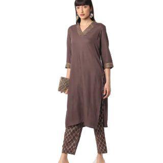 AVAASA SET Straight Kurta with Printed Pants at Rs.637