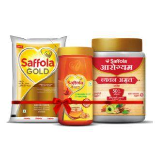 Saffola Gola 1ltr. + 100% Pure Honey 1KG + Chyawanamrut 1.25KG (Coupon 'AAWELCOME50')