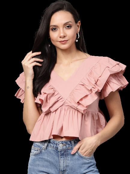 Flat 60% Off on plusS Women Pink Solid A-Line Crop Top
