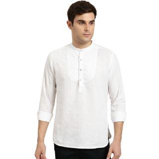 Flat 70% off on Sangria Men White Solid Straight Kurta