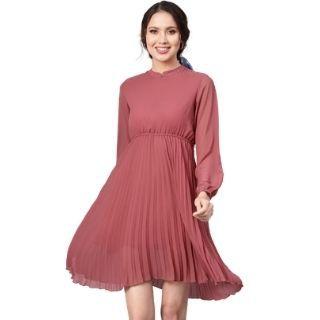 Flat 55% Off on SASSAFRAS Women Pink Solid Accordion Pleats Empire Dress