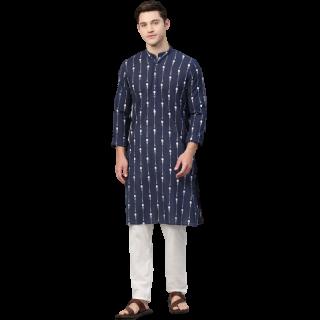 Flat 56% off on Men Navy Blue & White Printed Pure Cotton Straight Kurta