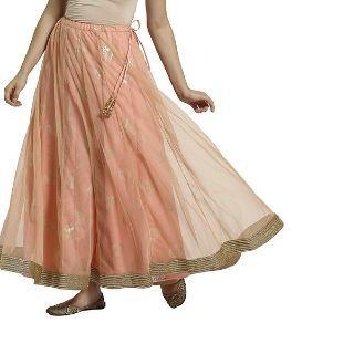 Get 50% Off on SRISHTI Women Layered Foil Print Flared Skirt Peach