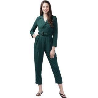 Flat 50% Off on Tokyo Talkies Women Green Solid Capri Jumpsuit