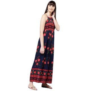 Get 60% off on Tokyo Talkies Women Navy Blue Floral Print Maxi Dress