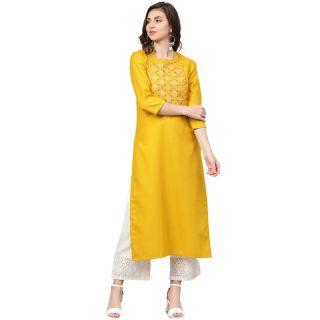 Flat 63% off on Varanga Women Mustard Yellow Yoke Design Straight Kurta