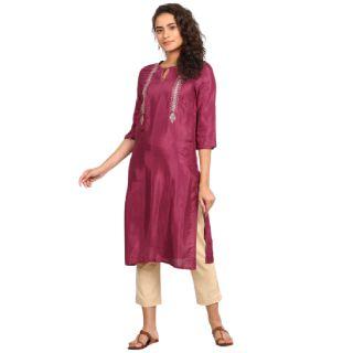 Save 60% on W  Women Embroidered Viscose Straight Kurta  (Purple)