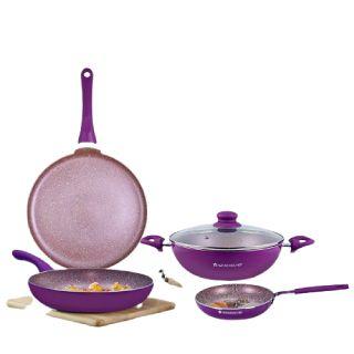 Save 35% on Royal Velvet Aluminium Nonstick Cookware Set, 5Pc, Purple