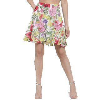 Sera Women Multicoloured Floral Printed Flared Mini Skirt 45% Off